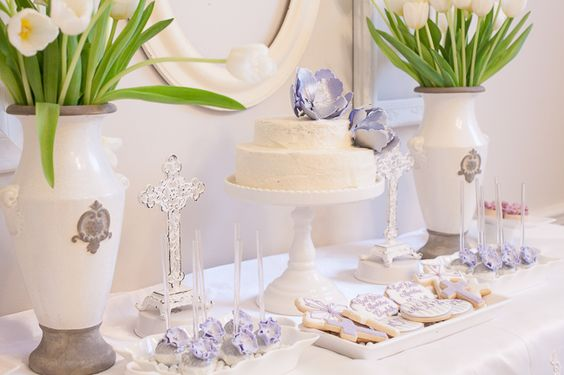 Ideas for a First Communion Party - we love the lavender accents in this dessert table!