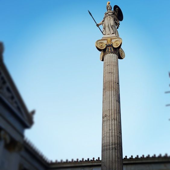 The statue of ancient goddess Athina, patron of Athens City.