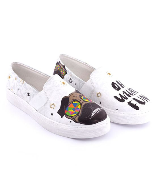 Love this Streetfly White Dog 'Oh What Fun' Slip-On Sneaker by Streetfly on #zulily! #zulilyfinds