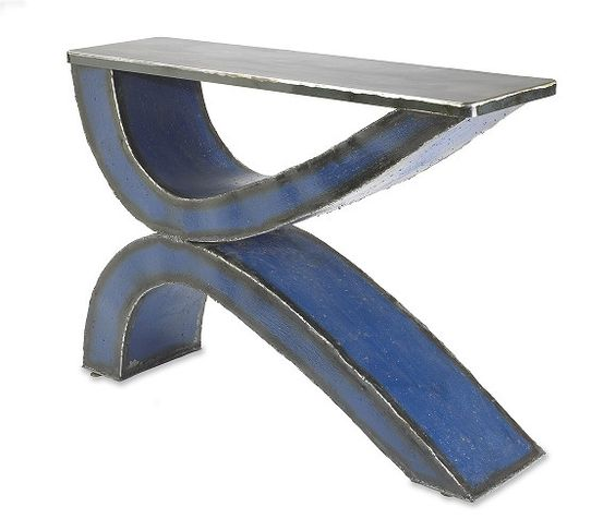 Blue Swoop Console Table