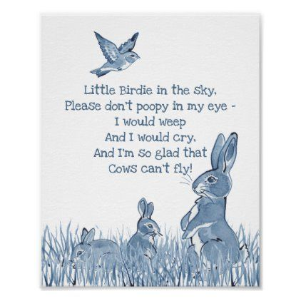 Cute Blue & White Bunny Rabbit Nursery Rhyme Child Poster