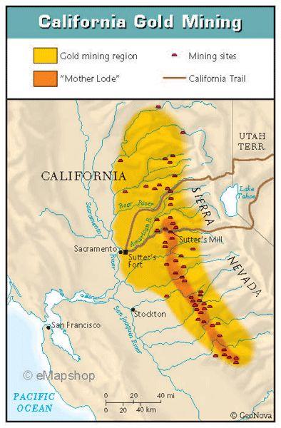 California Gold Rush Map  Google Search  Time Spun