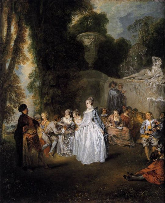 Antoine Watteau, Fêtes Vénitiennes, 1718-19, oil on canvas, 56 x 46 cm, National Gallery of Scotland, Edinburgh. Source