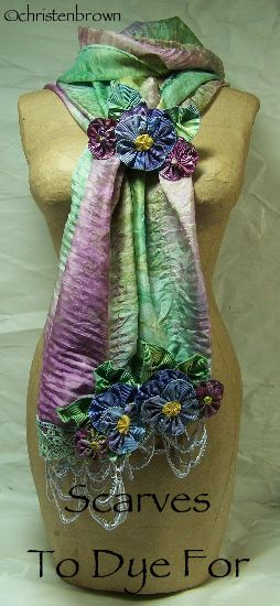 Scarf to Dye For: This is a class that I teach where the scarf, lace and ribbon were all hand dyed, then assembled.: