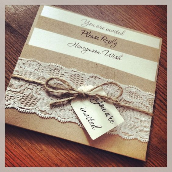 1 Vintage/Shabby Chic Style lace Pocket 'Rebecca' Wedding Invitation Sample