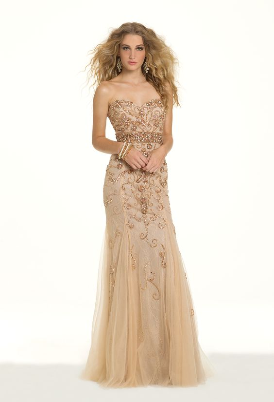 Camille La Vie Beaded Lace Belted Godet Strapless Prom Dress