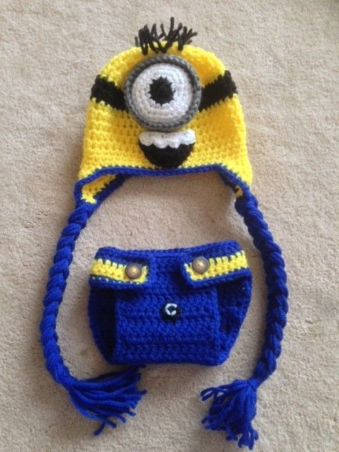 Free Crochet Pattern For Minion Eyes : Hand Crochet Baby Despicable Me Minion Photo prop Diaper ...