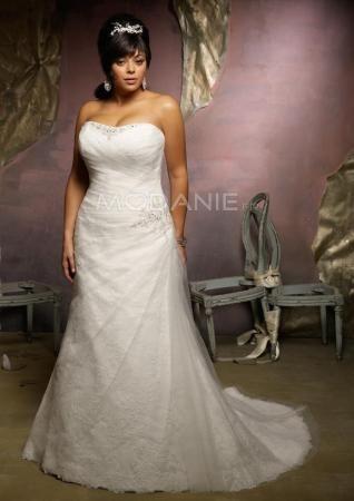 Dentelle robe de mariée grande taille organza avec ruche longueur au sol [#M1407156040] - modanie