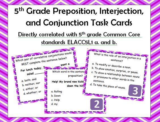 5th Grade Preposition, Interjection, and Conjunction Task Cards!  Directly correlated with Common Core Standards!