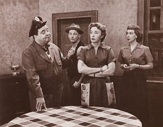 The Honeymooners.....Art Karney (Ed Norton), Audrey Meadows (Alice Kramden), Joyce Randolph (Trixie Norton) and Jackie Gleason (Ralph Kramden)