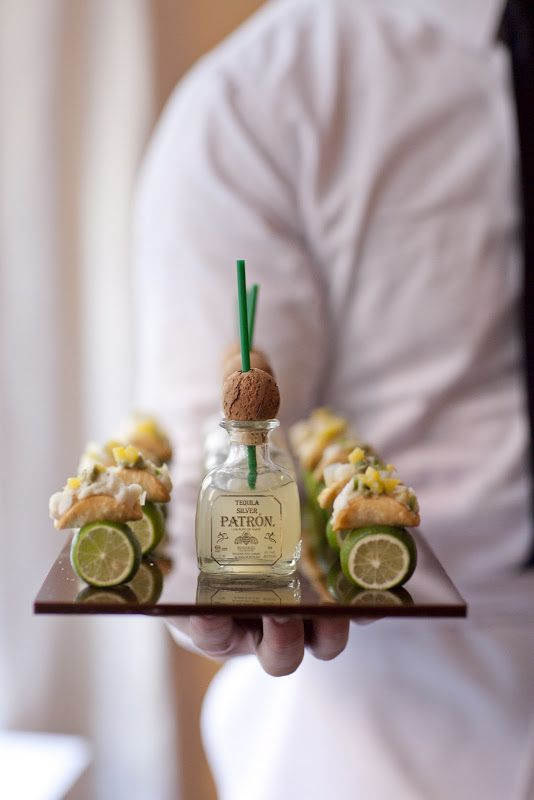 Mini tacos served with little Patron bottles. #wedding #drink #ideas: