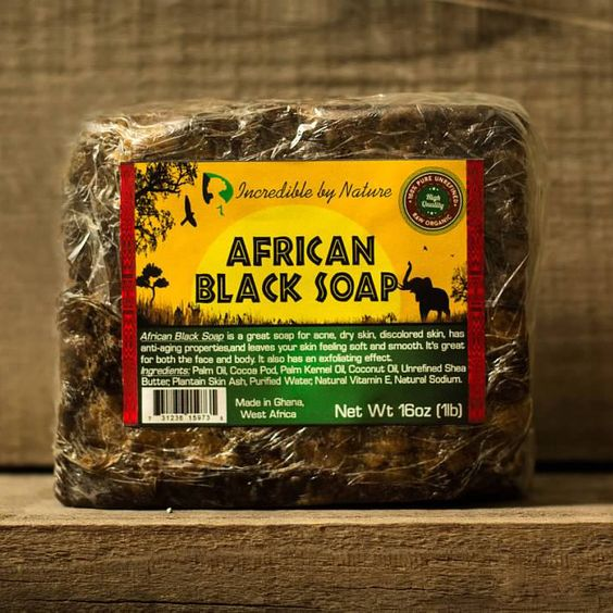 African Black Soap – Incredible By Nature. I use both the paste and the bar (I cut off a bar size from the block). I still use all of my Avon cleansers and shower gels, but as a last wash in the shower I use the black soap. I have noticed the chicken skin on my elbows began to diminish as well as my adult acne and scars start to fade.