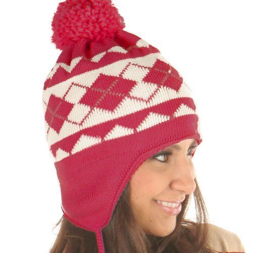 Angelina Double-layer / Microfiber lined Cozy Pilot Cap / Ski Hats with Pompon. #0703 Fuchsia. Angelina. $14.99. Save 25%!