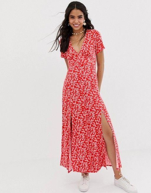 Asos Design Button Through Maxi Tea Dress With Splits In Ditsy Print Asos Maxi Dress Prom Tea Dress Dresses