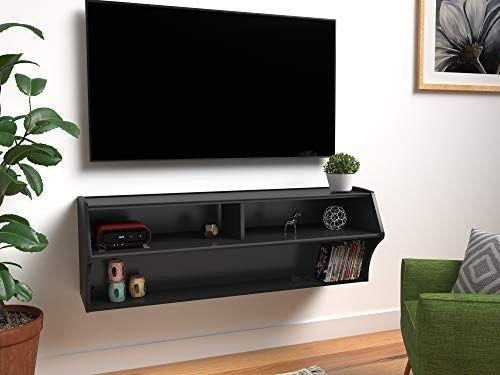 Prepac Altus Wall Mounted Audio Video Console 48 5 W X 16 75 H X 16 D Black Prepac In 2020 Prepac Room Furniture