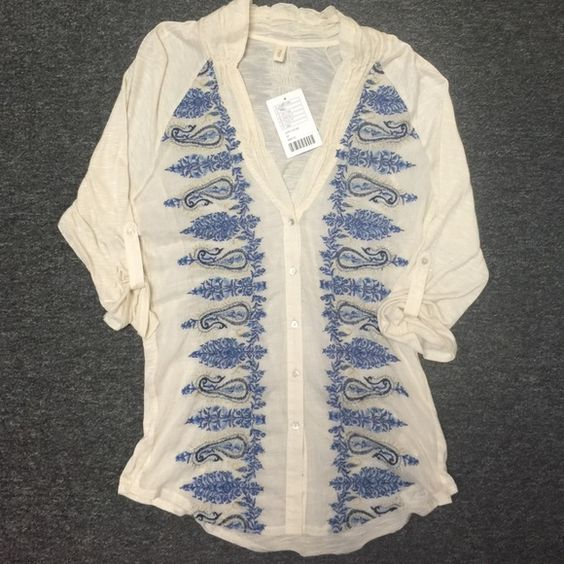 NWT Anthropologie Top Beautiful embroidered front with blue and gold colors. Shirt is ivory and sheer. Brand new with tags. Anthropologie Tops Blouses
