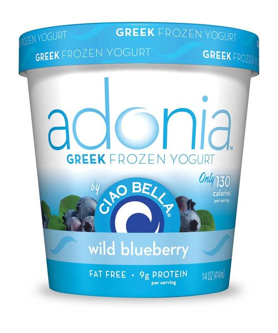 Adonia Greek Frozen Yogurt by Ciao Bella.  wild blueberry. only 130 calories per serving. #fatfree #lowcal #adonia