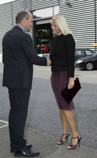 Crown Princess Mette-Marit of Norway and Prada Fall 2010 T-Strap Patent Sandals Photograph: