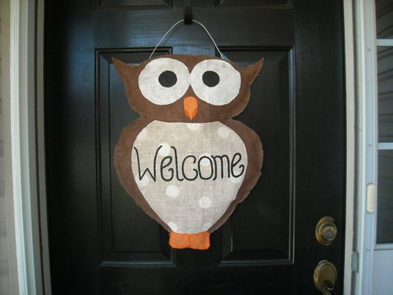 Burlap Owl Welcome Door Hanger by AsheliCoutureConcept on Etsy, $30.00