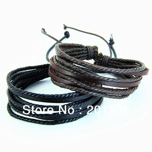 Free-shipping-Fashion-Male-Casual-Leather-Wax-woven-rope-bracelet-Multilayer-bracelets-Young-men-Adjustable-PY.jpg (500×500)