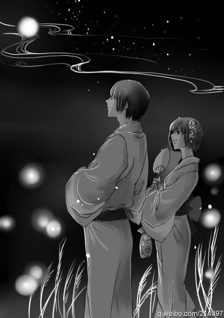 Kiku with his Nyotalia counterpart - Art by speed on Pixiv, found via Zerochan