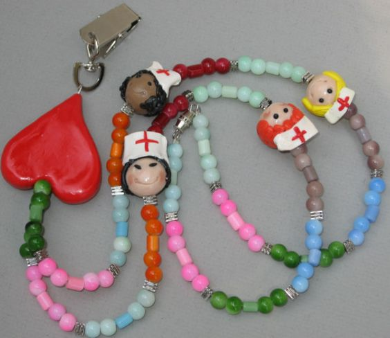 I should have made these fir Matthews Dr & nurses! Rainbow Nurse face bead Name Tag Lanyard pick and by TorreArt2007, $30.00