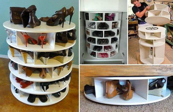 meuble a faire soit m me rangement pour chaussures tournant gain de place oui plut t a. Black Bedroom Furniture Sets. Home Design Ideas