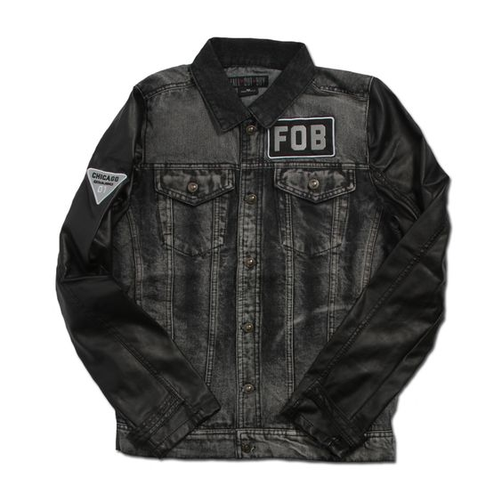 This is a custom Fall Out Boy denim jacket with faux leather