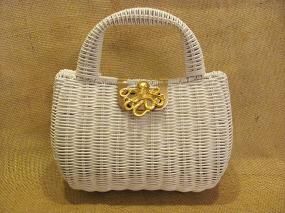 White Wicker Octopus Purse  Vintage Look Summer bag rattan nautical beach sea by savannahjacks, $48.00