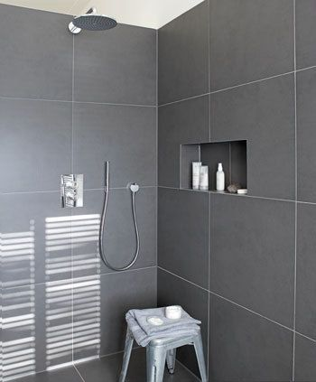 Tile. Dark tile  light grout  recessed shelf   E  Lake House   Pinterest