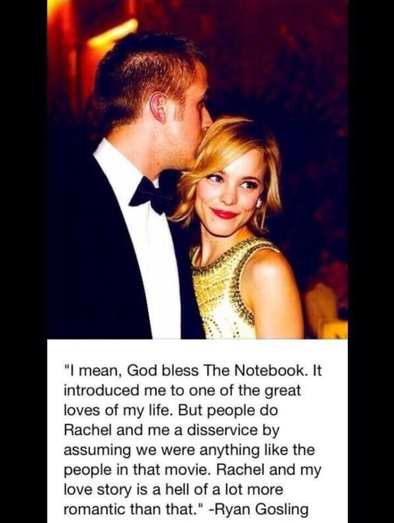 Ryan Gosling and Rachel McAdams when they actually dated. And women all over the world feel their ovaries swell and sigh.