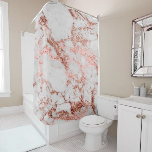 Modern Faux Rose Gold Glitter Marble Texture Image Shower