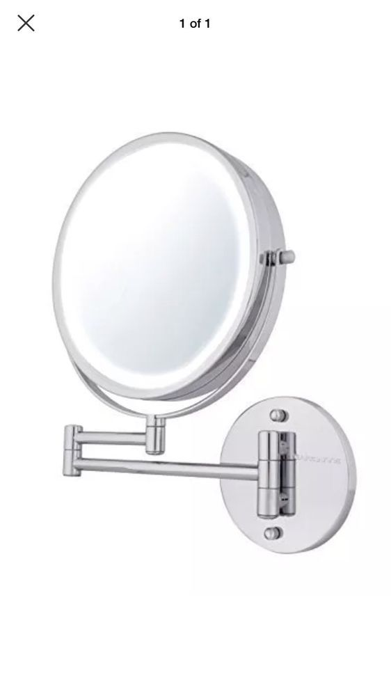 Ovente Wall Mount Makeup Mirror Battery Operated Led Lighted