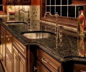 Kitchen, Elegant Classic Kitchen Cabinet Wooden Style With Black Granite Countertop Design Ideas: Kitchen Design Ideas With Granite Countertops