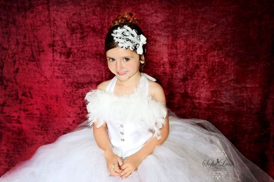 White/Black Feather Couture Headband