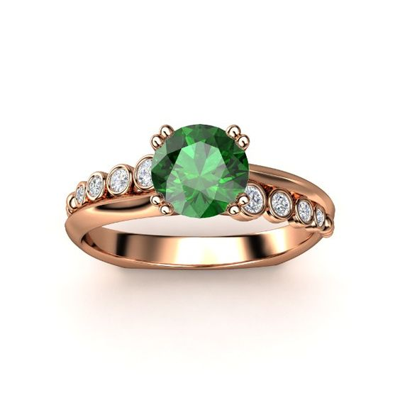 Isabella Ring - This inspired design has a delicate wave of bezel-set gemstones curving on opposite sides of the center gemstone. Emerald with diamond accents & rose gold. (ring 12 front view)