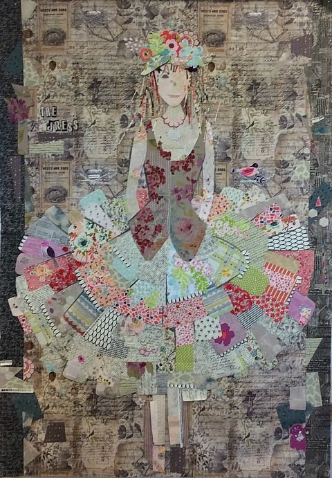 The Dress Collage Pattern by Laura Heine (Great idea for using up those tiny scraps)