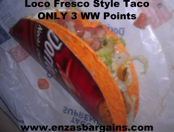 Taco Bell's New Loco Doritos Tacos made Fresco Style to to cut out calories! 3 #ww points! #enzasbargains