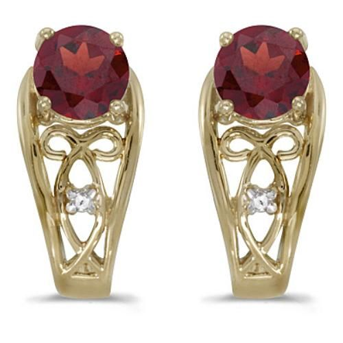 CM-E1861X-07 14k Yellow Gold Oval Ruby And Diamond Earrings