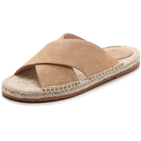 Charlotte Stone Leia Espadrille Suede Slides ($74) ❤ liked on Polyvore featuring shoes, sandals, camel, suede sandals, rubber sole shoes, woven shoes, braided sandals and suede leather shoes