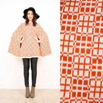 Vintage 70s s M Boho Orange Beige Plaid Knit Hippie Sweater Cape Capelet Coat | eBay