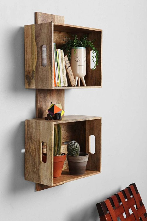 Wooden Crate Wall Shelves Square Brown Stayed Drawer Classic Design Floating Furniture Thin Strong Wooden Material Antique Decor