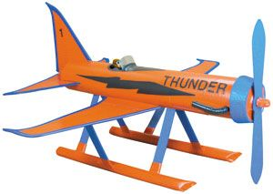 thunderplane: paper towel roll tube, chip board/cardboard, red duct tape, blue masking tape, black and blue electric tape
