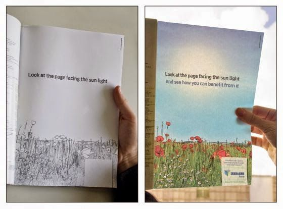 "Publicidade ""alimentada"" pelo sol para promover energia eco-friendly."