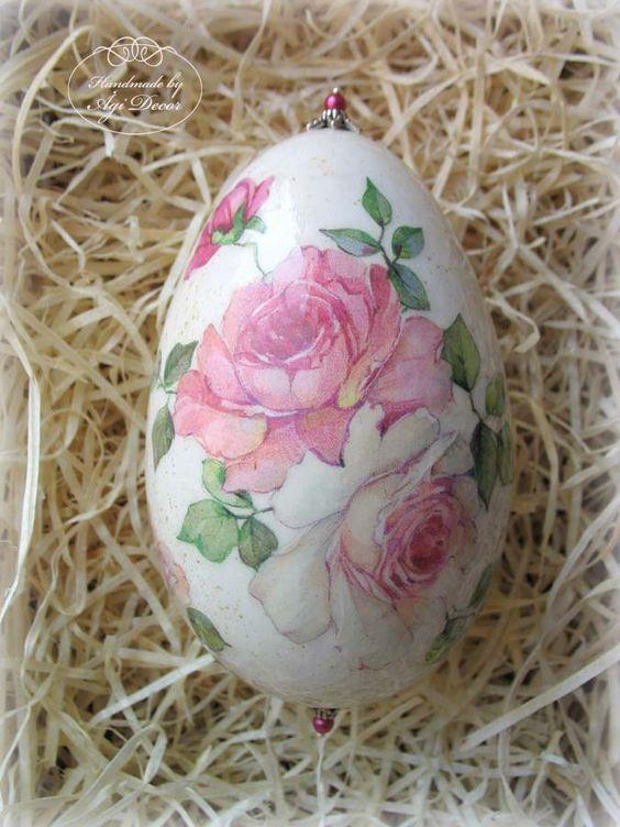 pink rose decoupage egg:
