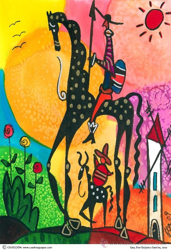 LAMINA 50 X 40 cm. EN PAPEL GRUESO (alta calidad) Gea, Naif, Don Quijote y Sancho - Foto 1