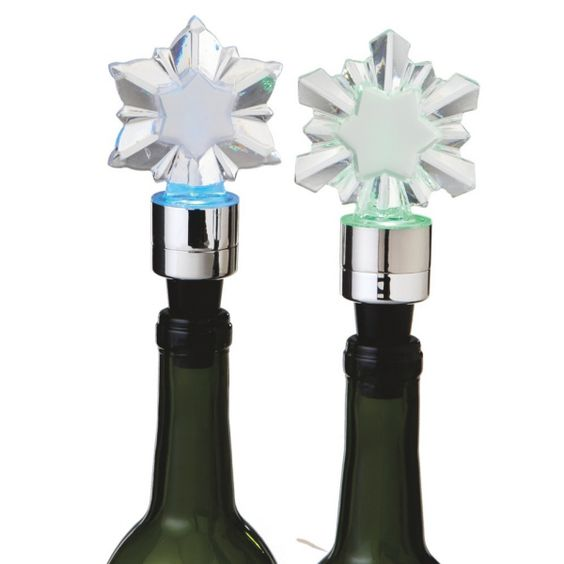 Lighted Snowflake Christmas Holiday Wine Bottle Stoppers (Set of 2)