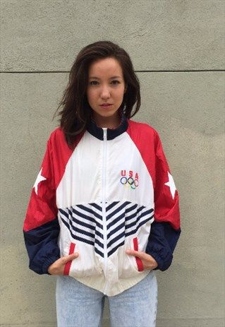 Vintage+USA+Olympics+Zip+Up+Red+White+Blue+Stars+and+Stripes
