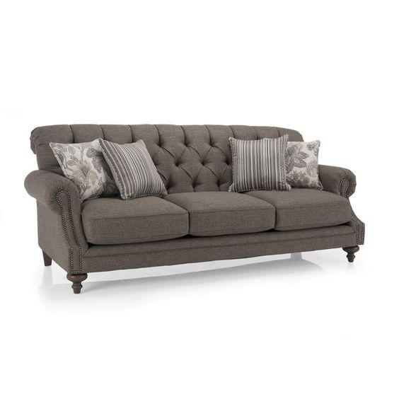 Gorgeous tufted sofa with nailhead trim sophisticated for Gray sectional sofa with nailhead trim