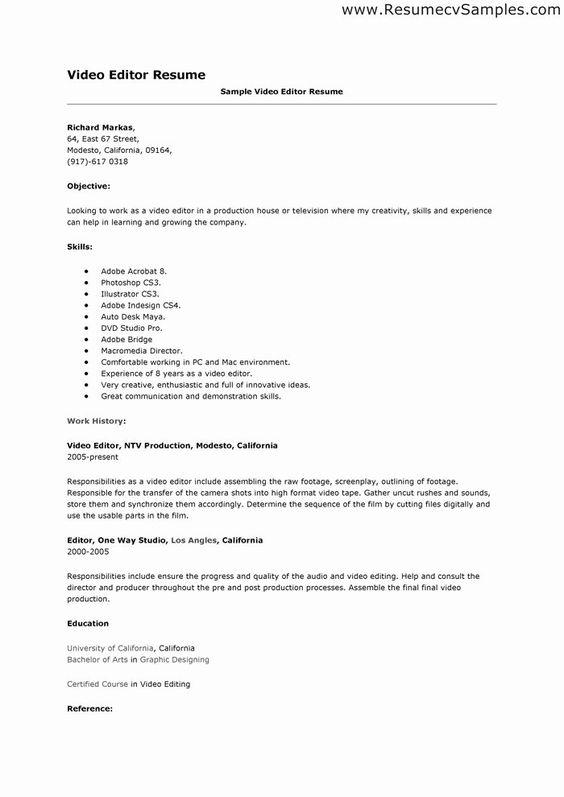 Video Editor Resume Examples Luxury Cv Template Video Editor Resume Format In 2020 Resume Resume Examples Resume Format